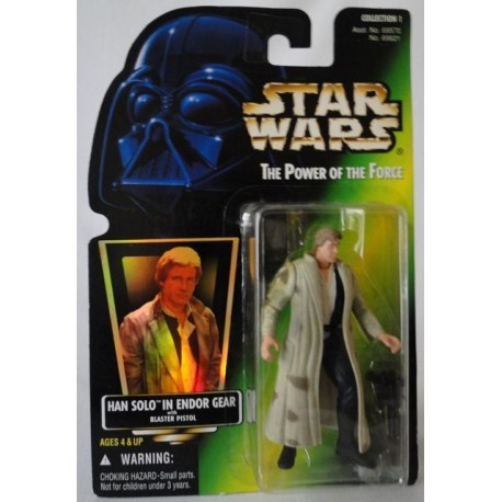 Han Solo In Endor Gear with Blaster Pistol, MOC US w/ holographic sticker