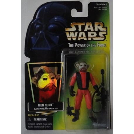 Nien Nunb with Blaster Pistol and Blaster Rifle, MOC US w/ holographic sticker