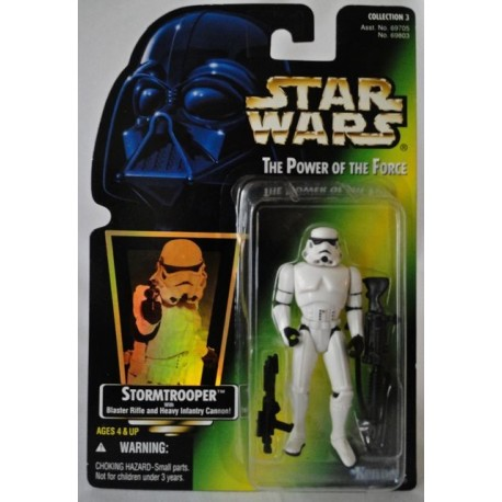 Stormtrooper with Blaster Rifle and Heavy Infantry Cannon!, MOC US w/ holographic sticker