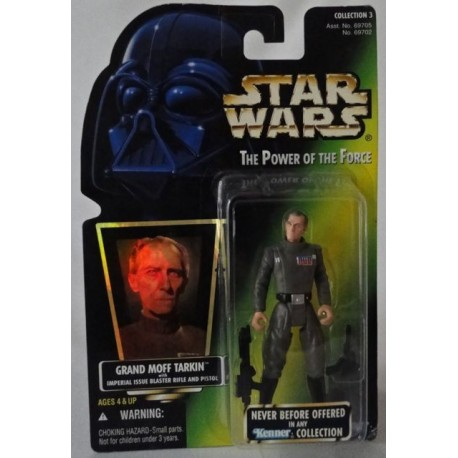 Grand Moff Tarkin with Imperial Issue Blaster Rifle and Pistol, MOC US w/ holographic sticker