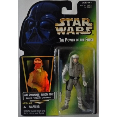 Luke Skywalker in Hoth Gear with Blaster Pistol and Lightsaber, MOC US w/ holographic sticker