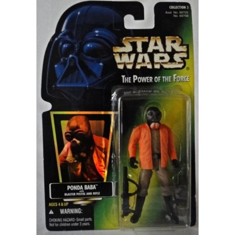 Ponda Baba with Blaster Pistol and Rifle, MOC US w/ holographic sticker