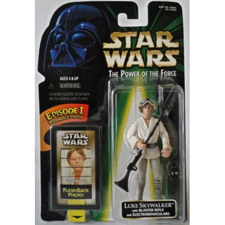 Luke Skywalker with Blaster Rifle and Electrobinoculars, MOC US w/ Episode I Flashback Photo