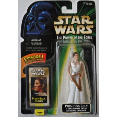 Princess Leia in Ceremonial Dress with Medal of Honor, MOC US w/ Episode I Flashback Photo