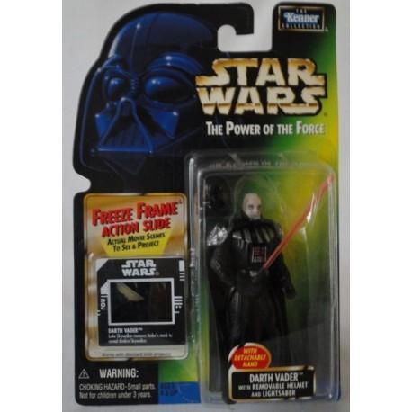 Darth Vader with Removable Helmet and Lightsaber, MOC US w/ Freeze Frame Action Slide