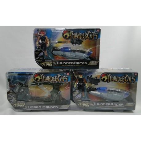 3x Thundercats - Lion-O and Tygra w/ThunderRacer + Lizard MIB BanDai 2011