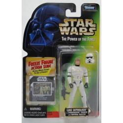 Luke Skywalker Stormtrooper outfit Feeze Frame slide MOC - Power of the Force - Kenner 1997