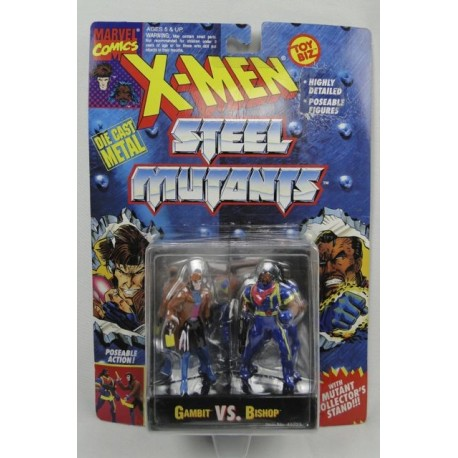 Gambit vs Bishop X-men Steel Mutants ToyBiz Marvell Comics DIE CAST metal