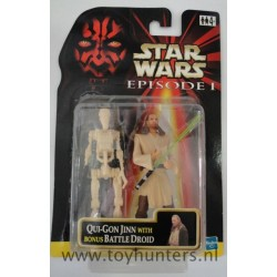 Qui-Gon Jinn + Battle Droid loose 100% Complete with 2-pack card