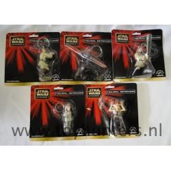 set 5x Figural Keychains by Applause Qui-Gon Jinn Anakin Obi Wan Darth Maul Jar Jar