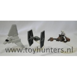 Collection VIII loose all with stands - Star Wars Micro Machines Speeder Bike Tie Fighter Imperial Shuttle