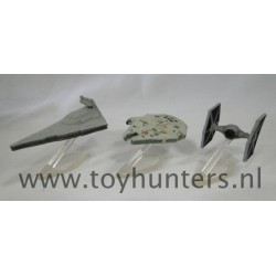 Falcon Star Destroyer TIE Fighter loose all with stands - Star Wars Micro Machines