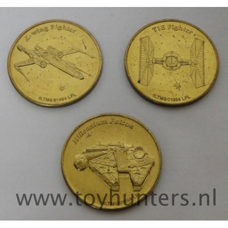 3x Star Wars Coins Millennium Falcon TIE Fighter X-wing