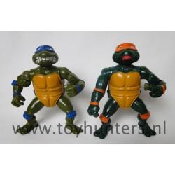 2x Wacky Action Turtles Leonardo and Michaelangelo 1989