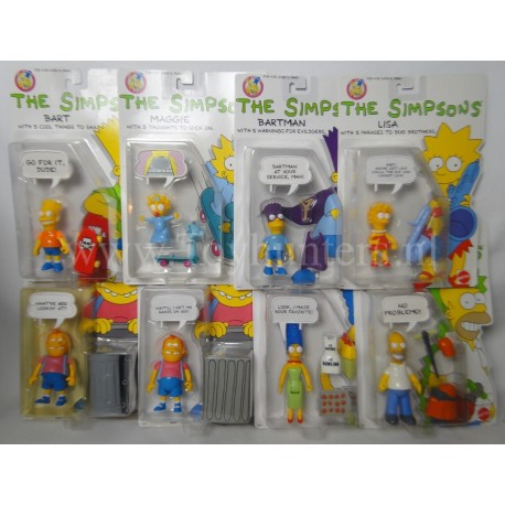 The Simpsons Mattel 1990 collection + shipping box + Sofa and Boob Tube