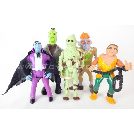 Complete set of 5x Monsters - Real Ghostbusters Kenner Dracula Frankenstein