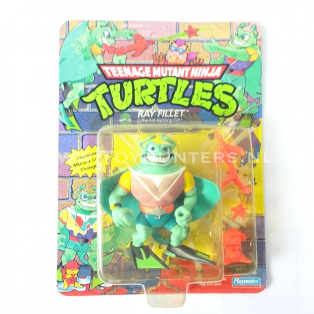 pink body Ray Fillet MOC UNPUNCHED - STRAIGHT CARD yellow bubble - TMNT - Playmates 1990